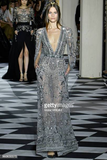 A model walks the runway during the Zuhair Murad Haute Couture Fall Winter 2018/2019 fashion show as part of Paris Fashion Week on July 4 2018 in...