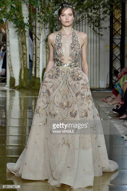 A model walks the runway during the Zuhair Murad Haute Couture Fall/Winter 20172018 show as part of Haute Couture Paris Fashion Week on July 5 2017...