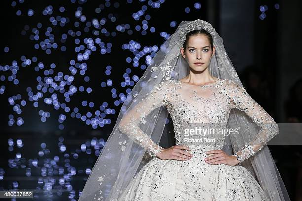 Model walks the runway during the Zuhair Murad show as part of Paris Fashion Week Haute Couture Fall/Winter 2015/2016 on July 9, 2015 in Paris,...