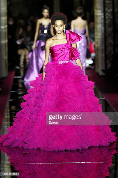 Model walks the runway during the Zuhair Murad Spring Summer 2017 show as part of Paris Fashion Week on January 25, 2017 in Paris, France.