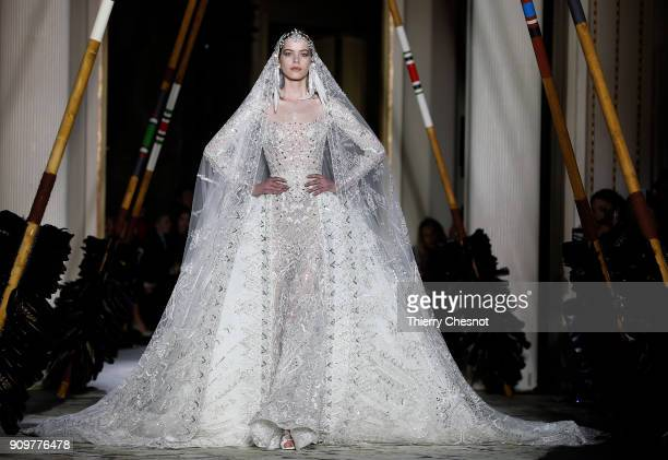A model walks the runway during the Zuhair Murad Spring Summer 2018 show as part of Paris Fashion Week on January 24 2018 in Paris France