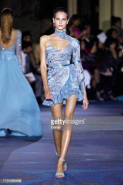 A model walks the runway during the Zuhair Murad Spring Summer 2019 show as part of Paris Fashion Week on January 23 2019 in Paris France