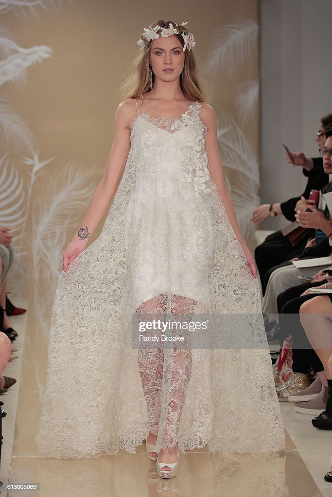 A model walks the runway during Theia at New York Fashion Week: Bridal October 2016 at THEIA's Showroom on October 6, 2016 in New York City.