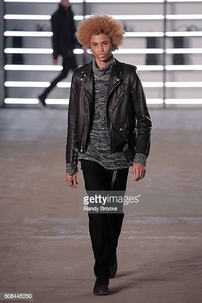 A model walks the runway during theJohn Elliott CO New York Fashion Week Men's Fall/Winter 2016 show at Skylight at Clarkson Sq on February 4 2016 in...