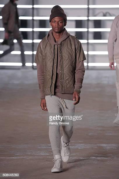 Model walks the runway during theJohn Elliott + CO New York Fashion Week Men's Fall/Winter 2016 show at Skylight at Clarkson Sq on February 4, 2016...