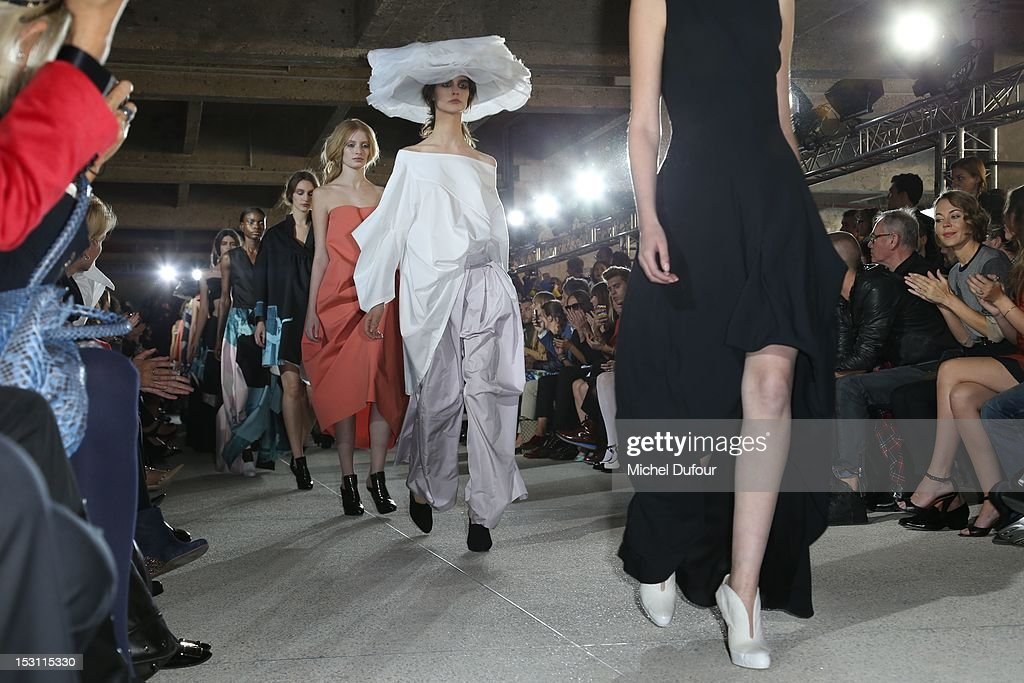 A model walks the runway during theJohn Galliano Spring / Summer 2013 show as part of Paris Fashion Week on September 30, 2012 in Paris, France.
