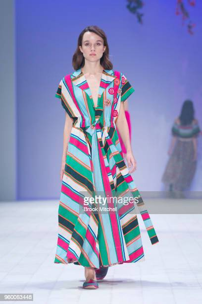 A model walks the runway during theResort Review show at MercedesBenz Fashion Week Australia Weekend Edition at Carriageworks on May 19 2018 in...