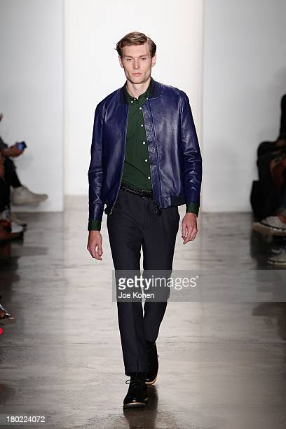 A model walks the runway during Timo Weiland Women's fashion show during Spring 2014 MADE Fashion Week at Milk Studios on September 10 2013 in New...