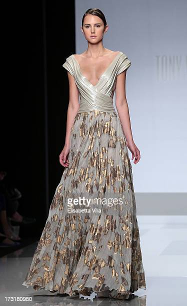 Model walks the runway during Tony Ward F/W 2013-2014 Haute Couture collection fashion show as part of AltaRoma AltaModa Fashion Week at Santo...