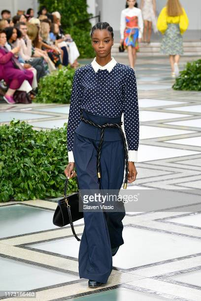 Model walks the runway during Tory Burch NYFW SS20 at the Brooklyn Museum on September 08, 2019 in Brooklyn City.