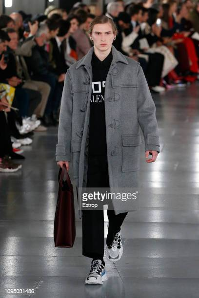 Model walks the runway during Valentino Menswear Fall/Winter 2019-2020 show as part of Paris Fashion Week on January 16, 2019 in Paris, France.