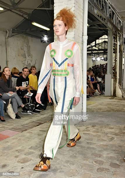 Model walks the runway during Walther Van Beirendonck As Part of Paris Fashion Week - Menswear Spring/Summer 2017 on June 22, 2016 in Paris, France.
