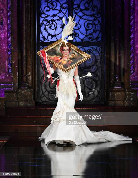 Model walks the runway during WEtv's premiere fashion event celebrating the return of 'Bridezillas' on March 13 2019 at Angel Orensanz Foundation in...