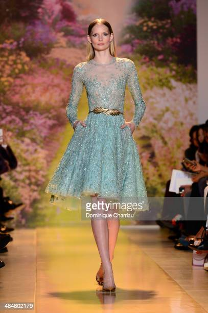 Model walks the runway during Zuhair Murad Prive show as part of Paris Fashion Week Haute Couture Spring/Summer 2014 on January 23, 2014 in Paris,...