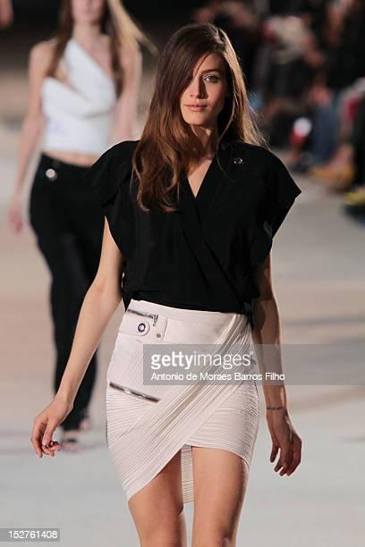 Model walks the runway duringthe Anthony Vacarello Spring / Summer 2013 show as part of Paris Fashion Week at Cite de la Mode et du Design on...