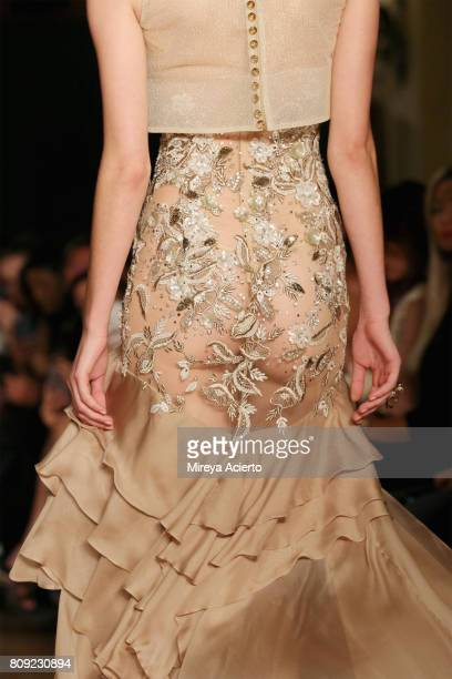 Model walks the runway, fashion detail, at the Dany Atrache Haute Couture Fall/Winter 2017-2018 show as part of Haute Couture Paris Fashion Week on...