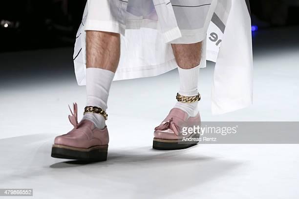 A model walks the runway fashion detail at the Sadak show during the MercedesBenz Fashion Week Berlin Spring/Summer 2016 at Brandenburg Gate on July...