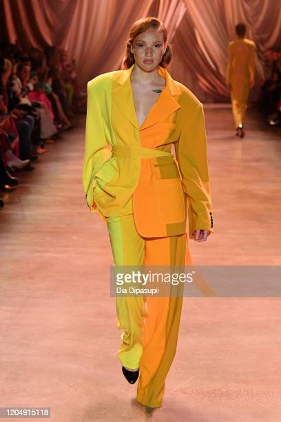 A model walks the runway fashion detail for Christopher John Rogers during New York Fashion Week The Shows at Gallery I at Spring Studios on February...