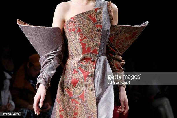 A model walks the runway fashion detail for Shun Oyama Tokyo at Global Fashion Collective II during New York Fashion Week The Shows at Pier 59...