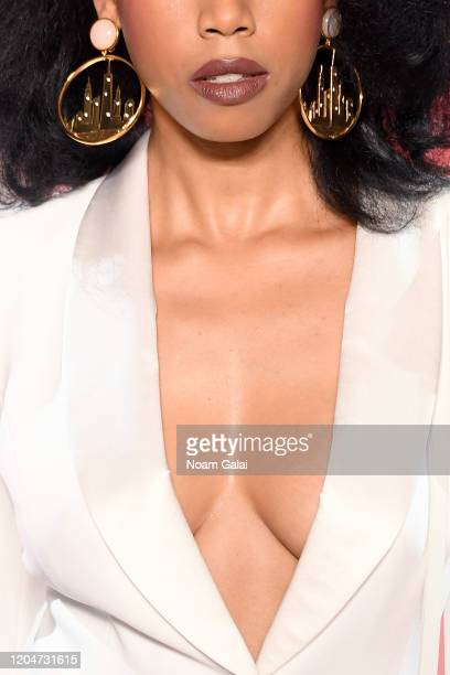A model walks the runway fashion detail for the Sergio Hudson fashion show during February 2020 New York Fashion Week The Shows at Gallery II at...