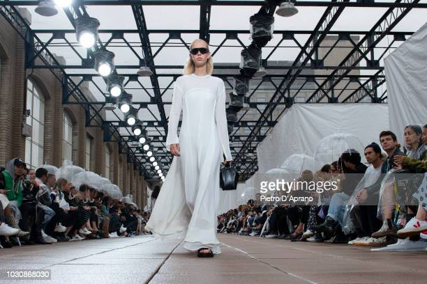 Model walks the runway for 3.1 Phillip Lim during New York Fashion Week at New Design High School on September 10, 2018 in New York City.