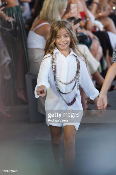 A model walks the runway for Acacia Resort 2019 during Paraiso Fashion Fair at 1111 Lincoln Road on July 14 2018 in Miami Florida