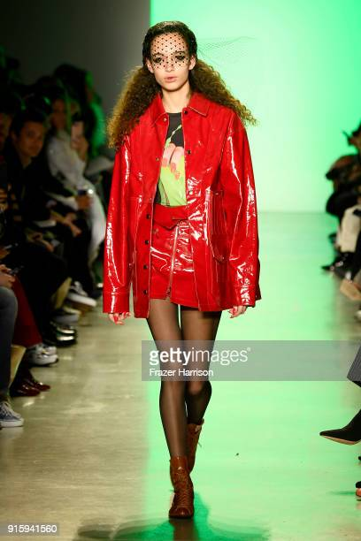 A model walks the runway for Adam Selman during New York Fashion Week The Shows at Gallery I at Spring Studios on February 8 2018 in New York City