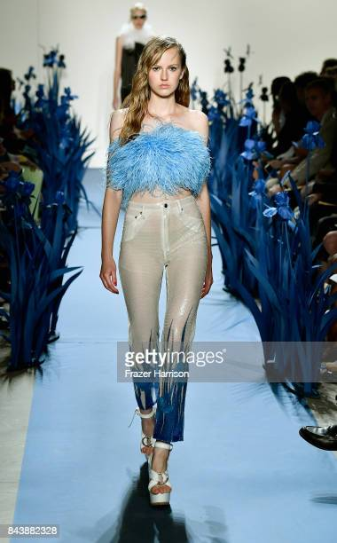 Model walks the runway for Adam Selman fashion show during New York Fashion Week Presented By MADE at Gallery 2, Skylight Clarkson Sq on September 7,...