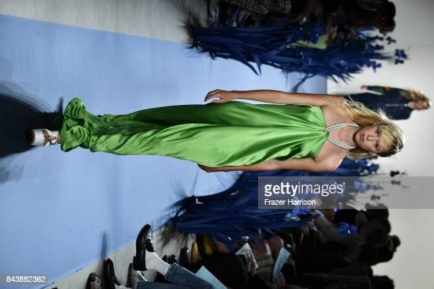 A model walks the runway for Adam Selman fashion show during New York Fashion Week Presented By MADE at Gallery 2 Skylight Clarkson Sq on September 7...