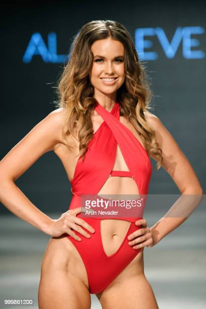 A model walks the runway for Alaia Eve at Miami Swim Week powered by Art Hearts Fashion Swim/Resort 2018/19 at Faena Forum on July 15 2018 in Miami...