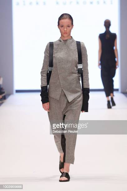 A model walks the runway for Aleks Kurkowski as part of the 'The NRW Design Issue' show during Platform Fashion July 2018 at Areal Boehler on July 22...