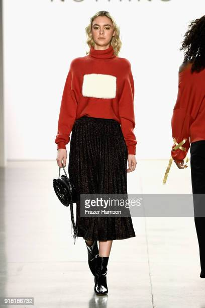 A model walks the runway for All Comes From Nothing during New York Fashion Week The Shows at Gallery II at Spring Studios on February 14 2018 in New...