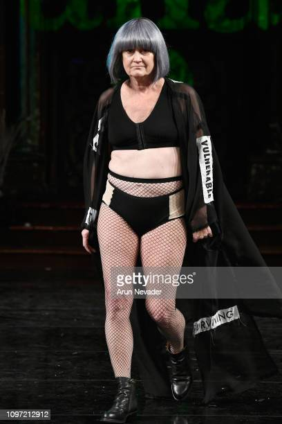 A model walks the runway for ANA ONO INTIMATES X PROJECT CANCERLAND At New York Fashion Week Powered By Art Hearts Fashion NYFW at The Angel Orensanz...