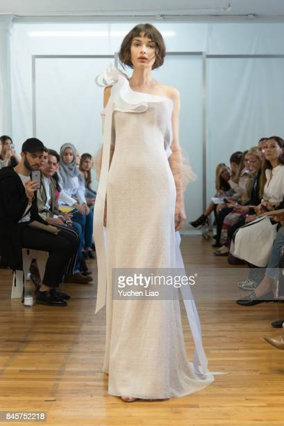 A model walks the runway for Angel Sanchez fashion show during New York Fashion Week on September 11 2017 in New York City