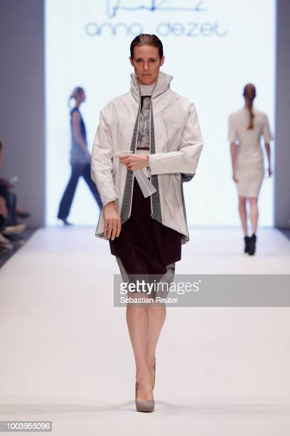 A model walks the runway for anna dezet as part of the 'The NRW Design Issue' show during Platform Fashion July 2018 at Areal Boehler on July 22 2018...