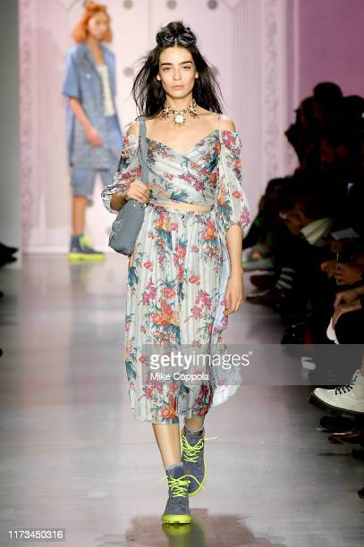 Model walks the runway for Anna Sui during New York Fashion Week: The Shows at Gallery I at Spring Studios on September 09, 2019 in New York City.