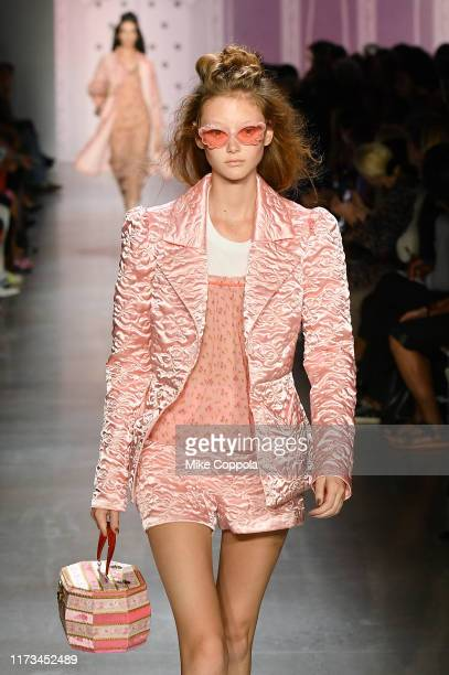 A model walks the runway for Anna Sui during New York Fashion Week The Shows at Gallery I at Spring Studios on September 09 2019 in New York City