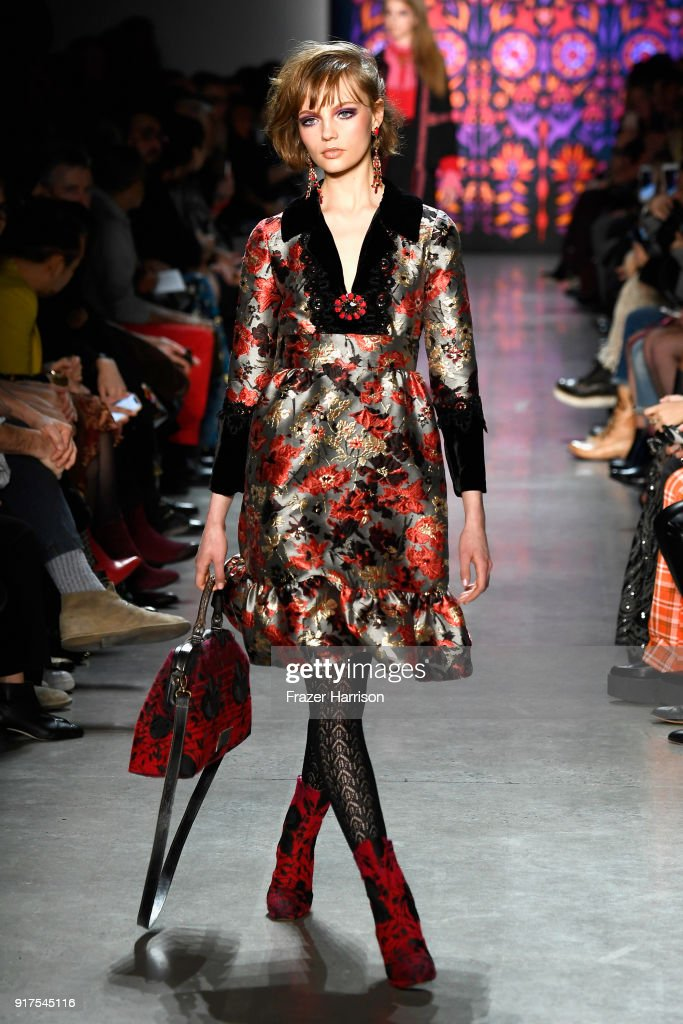 A model walks the runway for Anna Sui during New York Fashion Week: The Shows at Gallery I at Spring Studios on February 12, 2018 in New York City.