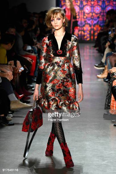 A model walks the runway for Anna Sui during New York Fashion Week The Shows at Gallery I at Spring Studios on February 12 2018 in New York City