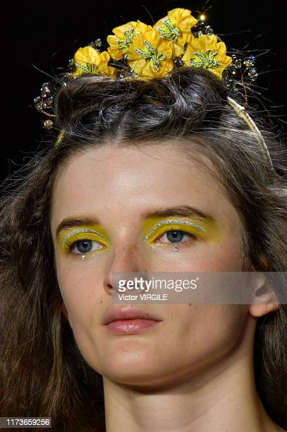 Model walks the runway for Anna Sui Ready to Wear Spring/Summer 2020 fashion show during New York Fashion Week on September 09, 2019 in New York City.