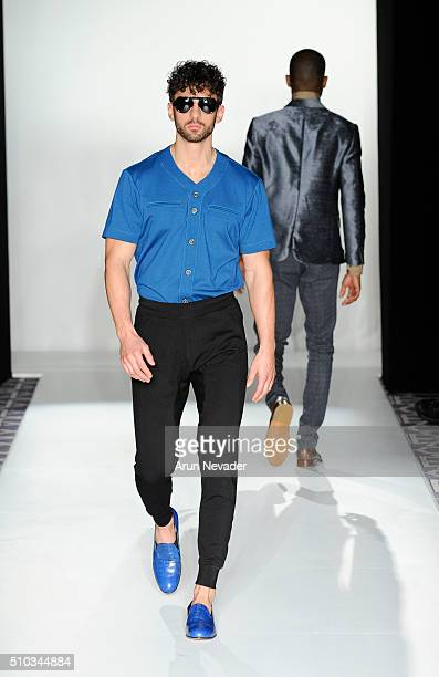 A model walks the runway for Antinoo Menswear during the PretAPorter fashion show at Affinia Hotel on February 14 2016 in New York City