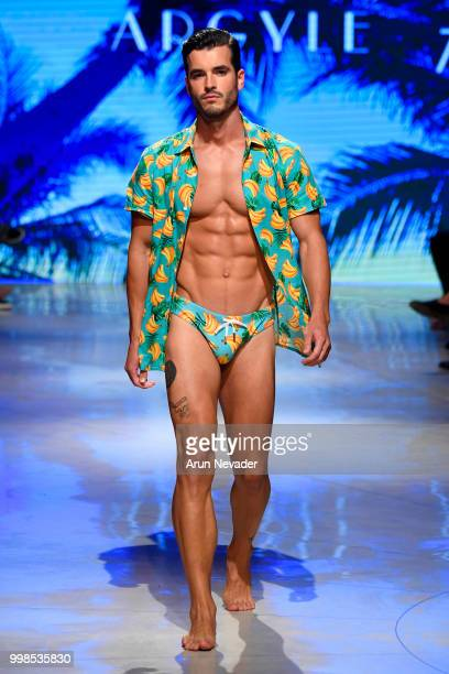 A model walks the runway for Argyle Grant at Miami Swim Week powered by Art Hearts Fashion Swim/Resort 2018/19 at Faena Forum on July 13 2018 in...