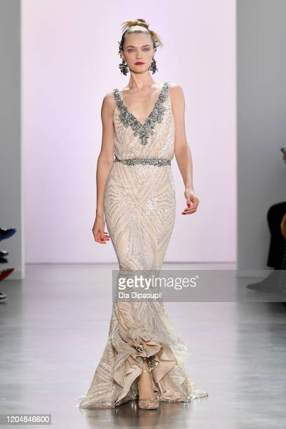 Model walks the runway for Badgley Mischka during New York Fashion Week: The Shows at Gallery I at Spring Studios on February 08, 2020 in New York...