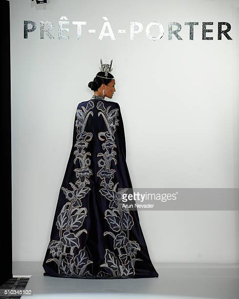 A model walks the runway for Balijava with jewelry by Epajewel during the PretAPorter runway at Affinia Hotel on February 14 2016 in New York City