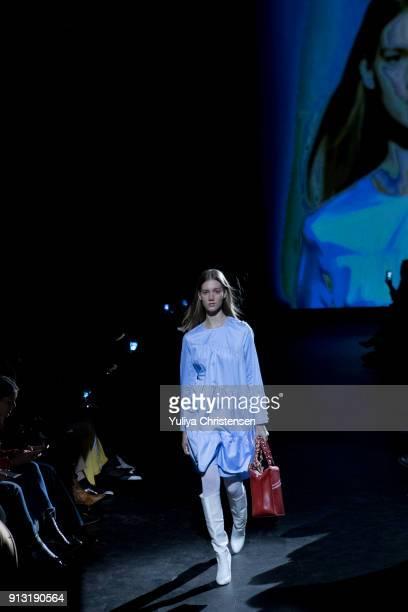 A model walks the runway for Baum And Pferdgarten during the Copenhagen Fashion Week Autumn/Winter 18 on February 1 2018 in Copenhagen Denmark