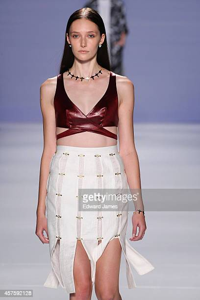 A model walks the runway for Beautfille at the MercedesBenz Startup Spring/Summer 2015 fashion show during World Mastercard Fashion Week at David...