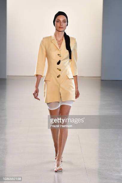 A model walks the runway for Bevza during New York Fashion Week The Shows at Gallery II at Spring Studios on September 10 2018 in New York City