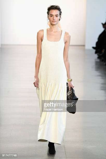 A model walks the runway for Bevza during New York Fashion Week The Shows at Gallery II at Spring Studios on February 12 2018 in New York City