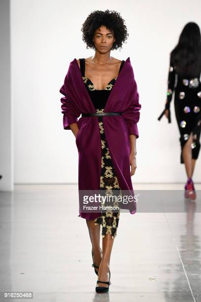A model walks the runway for Bibhu Mohapatra during New York Fashion Week The Shows at Gallery II at Spring Studios on February 9 2018 in New York...