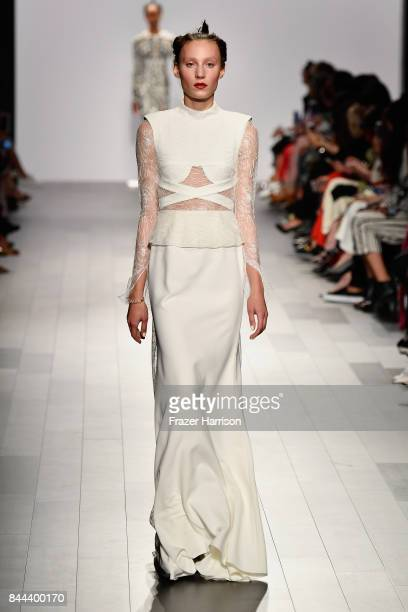 A model walks the runway for Bibhu Mohapatra Fashion Show at Gallery 1 Skylight Clarkson Sq on September 8 2017 in New York City